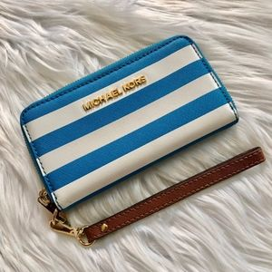 Michael Kors Small Jet Set Wallet Blue White